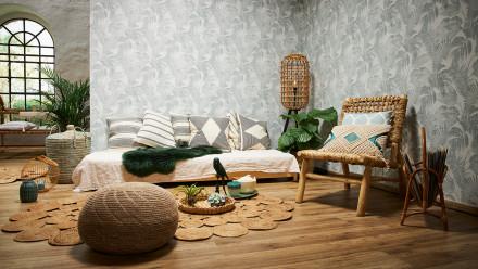 Vinyltapete New Walls Cosy & Relax Living Landhausstil Walls Creme Beige Grün 964