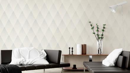 Vinyltapete New Walls 50's Glam Livingwalls Weiß Grau Metallic 192