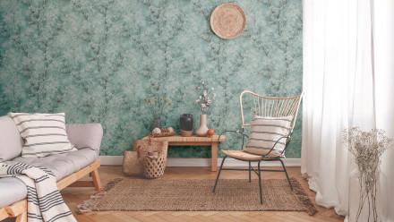 Vinyltapete New Walls Cosy & Relax Livingwalls Vintage Blau Grün Weiß 203