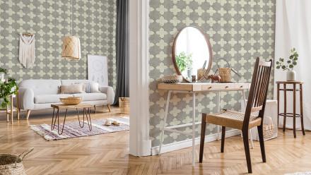Vinyltapete New Walls Finca Home Livingwalls Retro Creme Grau 215
