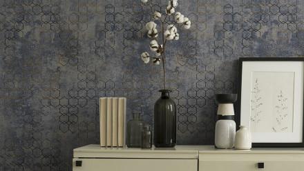 Vinyltapete New Walls Urban Grace Livingwalls Modern Blau Metallic Grau 245