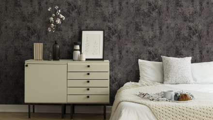 Vinyltapete New Walls Urban Grace Living Unifarbenwalls Unifarben Schwarz Metallic 256