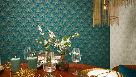 Vinyltapete New Walls 50's Glam Livingwalls Modern Metallic Blau Grün 275