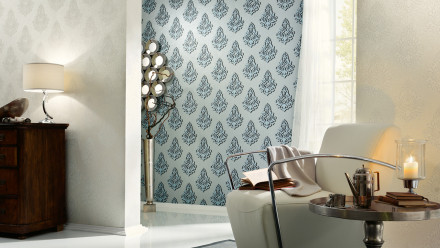 Vinyltapete Nobile Architects Paper Ornamente Blau Metallic 816