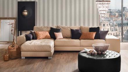 Textilfädentapete beige Modern Streifen Tessuto 2 942