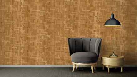 Vinyltapete Strukturtapete orange Modern Ornamente Versace 2 361