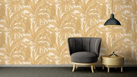 Vinyltapete orange Retro Blumen & Natur Versace 2 404