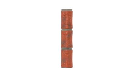 Zierer Bruchsteinoptik Ecke für BS1 - 54 x 54 x 345 mm rot-geflammt aus GFK