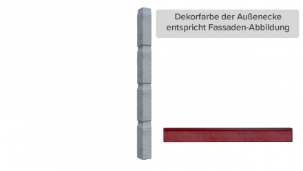 Zierer Holzoptik Ecke - 60 x 60 x 720 mm schwedenrot aus GFK