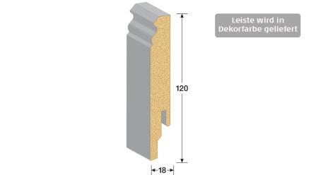 MEISTER Sockelleisten Fußleisten - Weiß DF (streichfähig) 2222 - 2500 x 120 x 18 mm