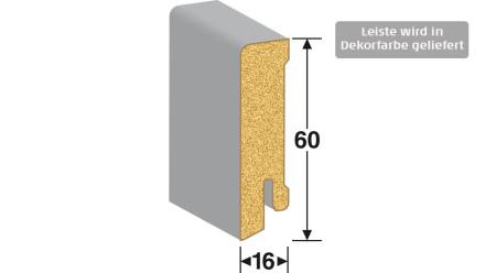 MEISTER Sockelleisten Fußleisten - Weiß DF (streichfähig) 2222 - 2500 x 60 x 16 mm