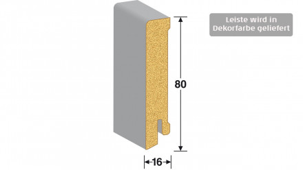 MEISTER Sockelleisten Fußleisten - Buche 6201 - 2500 x 80 x 16 mm