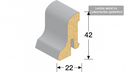MEISTER Sockelleisten Fußleisten - Kork creme 1220 - 2500 x 42 x 22 mm
