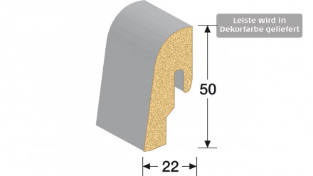 MEISTER Sockelleisten Fußleisten - Eiche weiß 1068 - 2500 x 50 x 22 mm