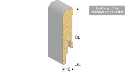 MEISTER Sockelleisten Fußleisten - Eiche harmonisch weiß 6139 - 2500 x 80 x 16 mm