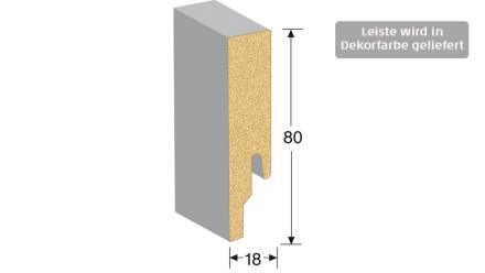 MEISTER Sockelleisten Fußleisten - Weiß mit Intarsienstreifen Edelstahl DF 2402 - 2500 x 80 x 18 mm