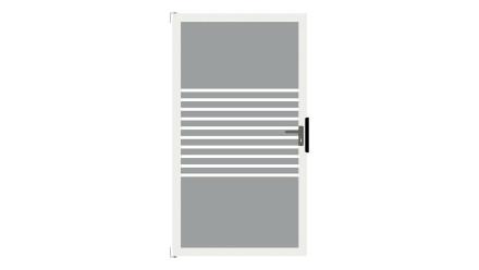 planeo Ambiente - Glas-Sichtschutz Tor DIN rechts Streifen mit Anthrazit-Alurahmen 100 x 180 cm