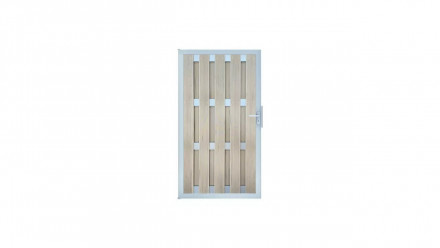 planeo Fertigzaun Tor DIN Links BiColor Weiß 100 x 180 x 4,0cm - Rahmen Silber