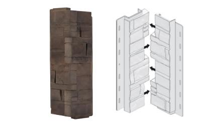 planeo Fassadenecken Schichtstein Brownstone - 406 x 149 mm