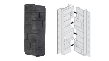 planeo Fassadenecken Schichtstein Anthracite - 406 x 149 mm