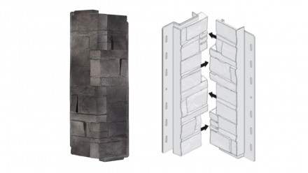 planeo Fassadenecken Schichtstein Lava - 406 x 149 mm
