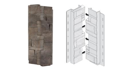 planeo Fassadenecken Schichtstein Silex Flint - 406 x 149 mm