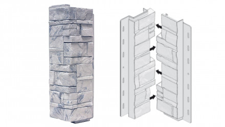 planeo Fassadenecken Schichtstein Grigio - 406 x 149 mm