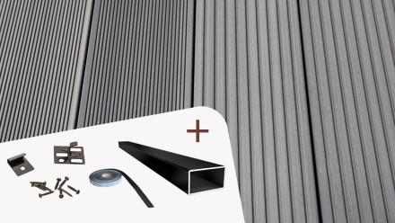 Komplett-Set TitanWood 4m Hohlkammerdiele Rillenstruktur Hellgrau 8.8m² inkl. Alu-UK