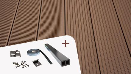 Komplett-Set TitanWood 3m Hohlkammerdiele Rillenstruktur dunkelbraun 48m²