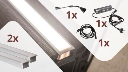 planeo Glow - Zaunbeleuchtungs-Set für 2 Lichtleisten