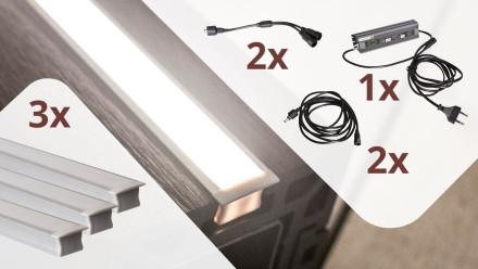 planeo Glow - Zaunbeleuchtungs-Set für 3 Lichtleisten