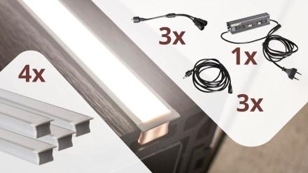 planeo Glow - Zaunbeleuchtungs-Set für 4 Lichtleisten
