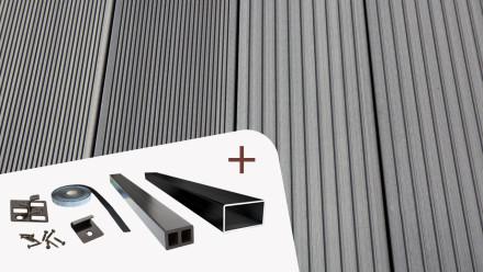 Komplett-Set TITANWOOD Hohlkammer grau Rillenstruktur