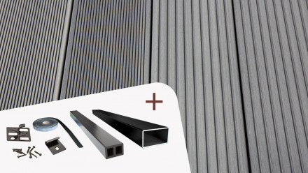 Komplett-Set TitanWood 5m Hohlkammerdiele Rillenstruktur Hellgrau 46.5m² inkl. Alu-UK