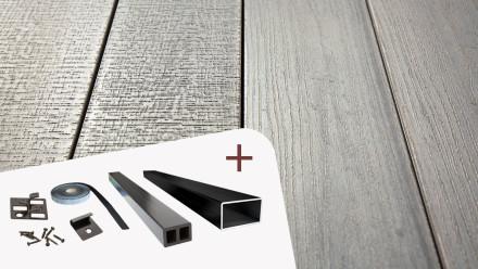 Komplett-Set TitanWood 4m Massivdiele Holzstruktur Hellgrau 8.2m² inkl. Alu-UK