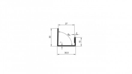 planeo Alu-Abschlussprofil - AP 27mm Aufnahme 3000mm Länge Aluminium-natur