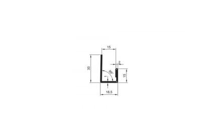 planeo Alu-Abschlussprofil - AP 15mm Aufnahme 3000mm Länge Aluminium-natur