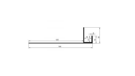 planeo Alu-Anschlussprofil - AN 15mm Aufnahme 3000mm Länge Aluminium-natur