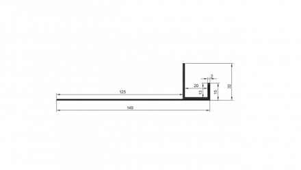 planeo Alu-Anschlussprofil - AN 21mm Aufnahme 3000mm Länge Aluminium-natur