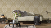 Vinyltapete beige Retro Landhaus Barock Ornamente Hermitage 10 433
