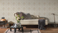Vinyltapete beige Landhaus Retro Barock Ornamente Blumen & Natur Château 5 912