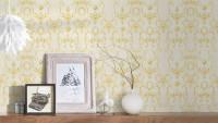 Vinyltapete orange Landhaus Retro Barock Ornamente Blumen & Natur Château 5 921