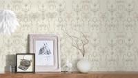 Vinyltapete grau Landhaus Retro Barock Ornamente Blumen & Natur Château 5 922