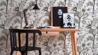 Vinyltapete schwarz Vintage Retro Blumen & Natur Neue Bude 2.0 022