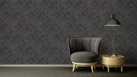 Vinyltapete grau Modern Ornamente Streifen Versace 4 514