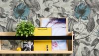 Vinyltapete Greenery A.S. Création Landhausstil Hibiskus Pflanzen Grau Weiß Blau 162