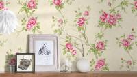 Vinyltapete grün Modern Retro Blumen & Natur Romantico 261