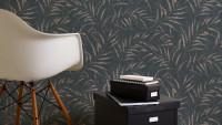 Vinyltapete schwarz Modern Klassisch Blumen & Natur Greenery 355