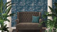Vinyltapete blau Vintage Blumen & Natur Sumatra 766