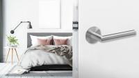 Drücker E900 Edelstahl matt - Bad mit Magnetrosette
